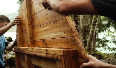 Building and standing up a wall for a diy barrel sauna in canada