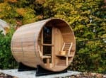 4 person barrel sauna with porch exterior