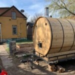 Barrel Sauna Rental in Backyard of Urban House